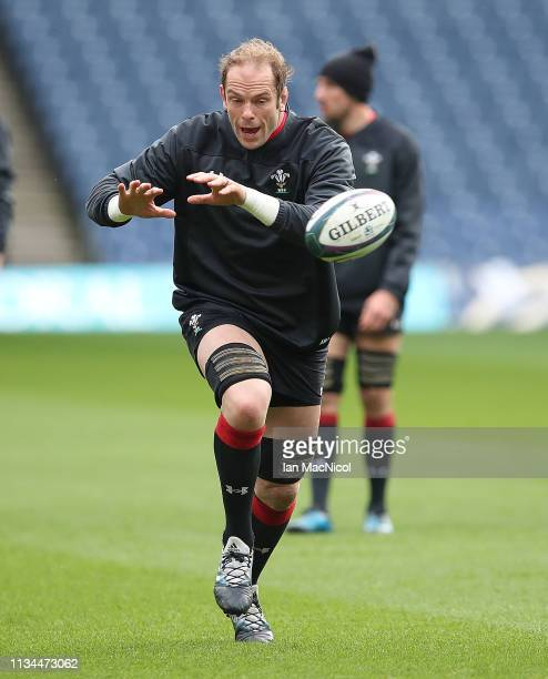 Wales captain Alun Wyn Jones is seen during the Captains Run prior to the Guiness 6 Nations match between Scotland and Wales at Murrayfield on March...
