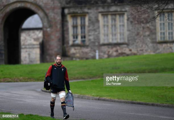 Wales captain Alun Wyn Jones makes his way to training in the lead up to the RBS Six Nations match against Ireland at the Vale Hotel on March 8 2017...