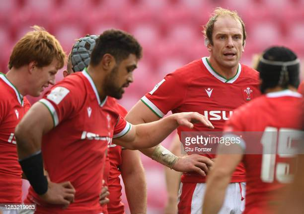 Wales captain Alun Wyn Jones reacts after the Scotland try during the 2020 Guinness Six Nations match between Wales and Scotland at Parc y Scarlets...