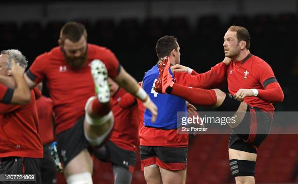 Wales captain Alun Wyn Jones warms up during the Wales Captains Run ahead of their Guinness Six Nations match against France at Principality Stadium...