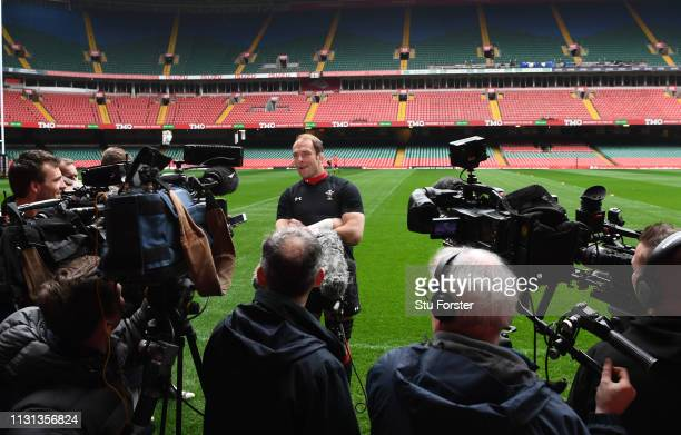 Wales captain AlunWyn Jones speaks to the press during Wales training ahead of the Six Nations match against England at Principality Stadium on...
