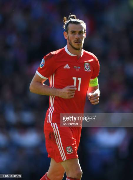 Wales captain Gareth Bale in action during the 2020 UEFA European Championships group qualifying match between Wales and Slovakia at Cardiff City...