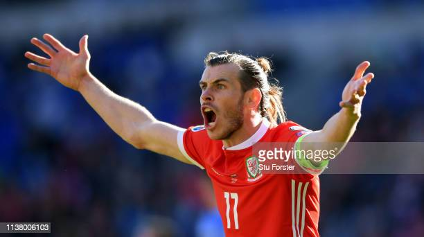 Wales captain Gareth Bale reacts during the 2020 UEFA European Championships group qualifying match between Wales and Slovakia at Cardiff City...