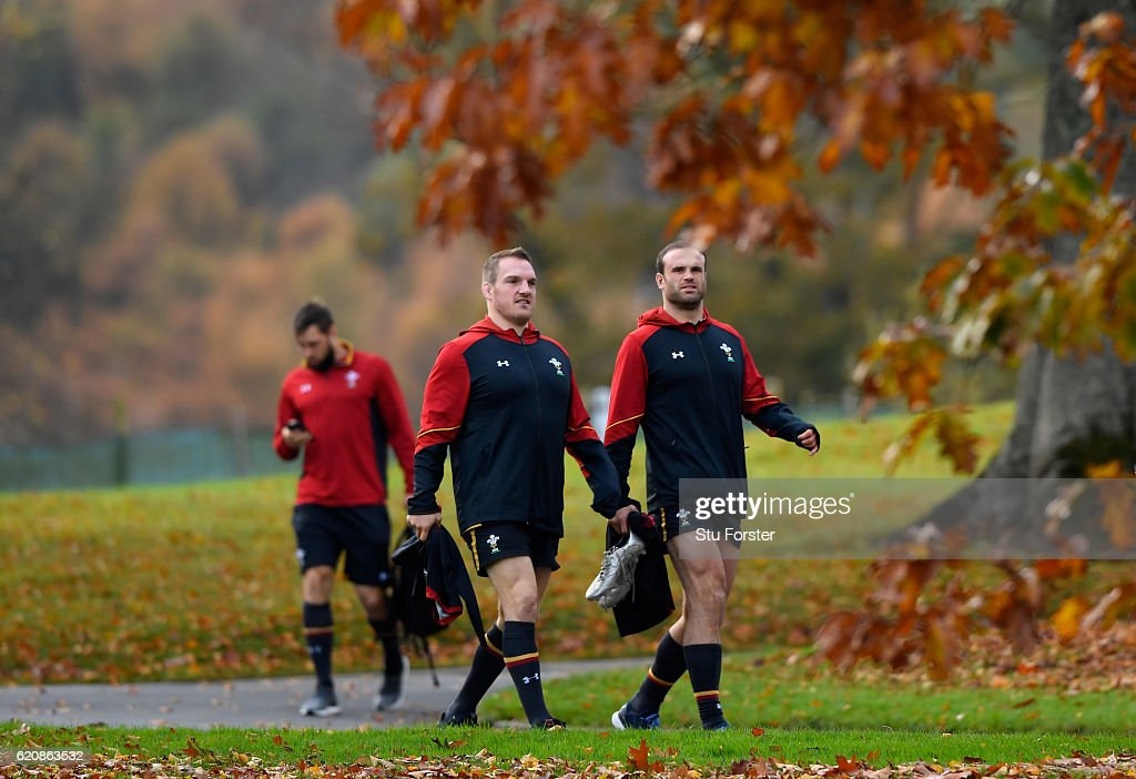Wales captain Gethin Jenkins (c) and Jamie Roberts head to training in the lead up to the game against Australia at the Vale Hotel on November 3, 2016 in Cardiff, Wales.