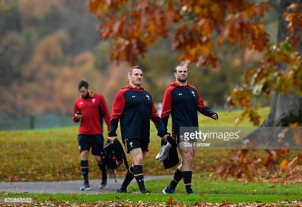 Wales captain Gethin Jenkins and Jamie Roberts head to training in the lead up to the game against Australia at the Vale Hotel on November 3 2016 in...