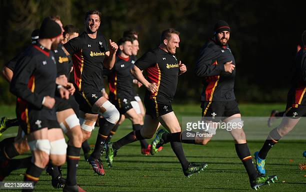 Wales captain Gethin Jenkins shares a joke with team mates during Wales training in the build up to the international match against Argentina at the...