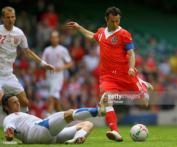 Wales captain Ryan Giggs gets in a shot during the Euro 2008 Group D Qualifying Match between Wales and Czech Republic at the Millennium Stadium on...