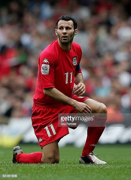 Wales captain Ryan Giggs looks on during the Group Six World Cup Qualifiying match between Wales and Austria at the Millennium Stadium on March 26...