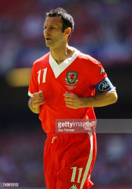 Wales captain Ryan Giggs makes a run during the Euro 2008 Group D Qualifying Match between Wales and Czech Republic at the Millennium Stadium on June...