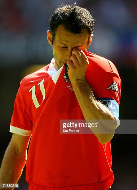 Wales captain Ryan Giggs takes a breather during the Euro 2008 Group D Qualifying Match between Wales and Czech Republic at the Millennium Stadium on...