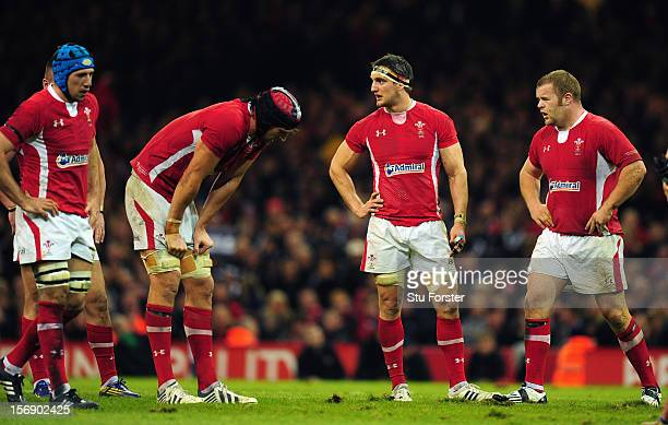 Wales captain Sam Warburton and dejected team mates look on during the International Match between Wales and New Zealand at Millennium Stadium on...