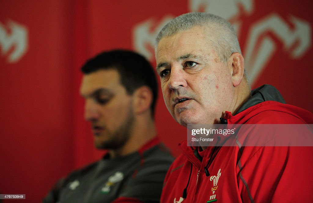Wales captain Sam Warburton (l) and head coach Warren Gatland face the media at the team announcement, ahead of their RBS six nations match against England on sunday, at the Vale Hotel on March 4, 2014 in Cardiff, Wales.