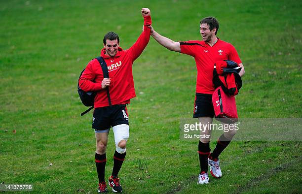 Wales captain Sam Warburton and Ryan Jones share a joke before Wales training at the Vale hotel ahead of this saturdays final RBS Six Nations game...