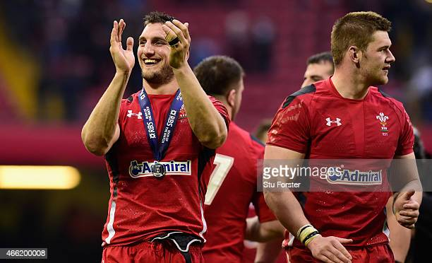 Wales captain Sam Warburton celebrates after the RBS Six Nations match between Wales and Ireland at Millennium Stadium on March 14 2015 in Cardiff...