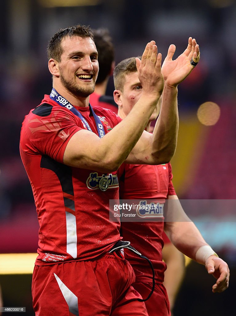 Wales captain Sam Warburton celebrates after the RBS Six Nations match between Wales and Ireland at Millennium Stadium on March 14, 2015 in Cardiff, Wales.