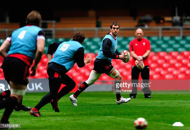 Wales captain Sam Warburton in action during the Wales Captain's Run ahead of tomorrows RBS six nations game against France at Millennium Stadium on...