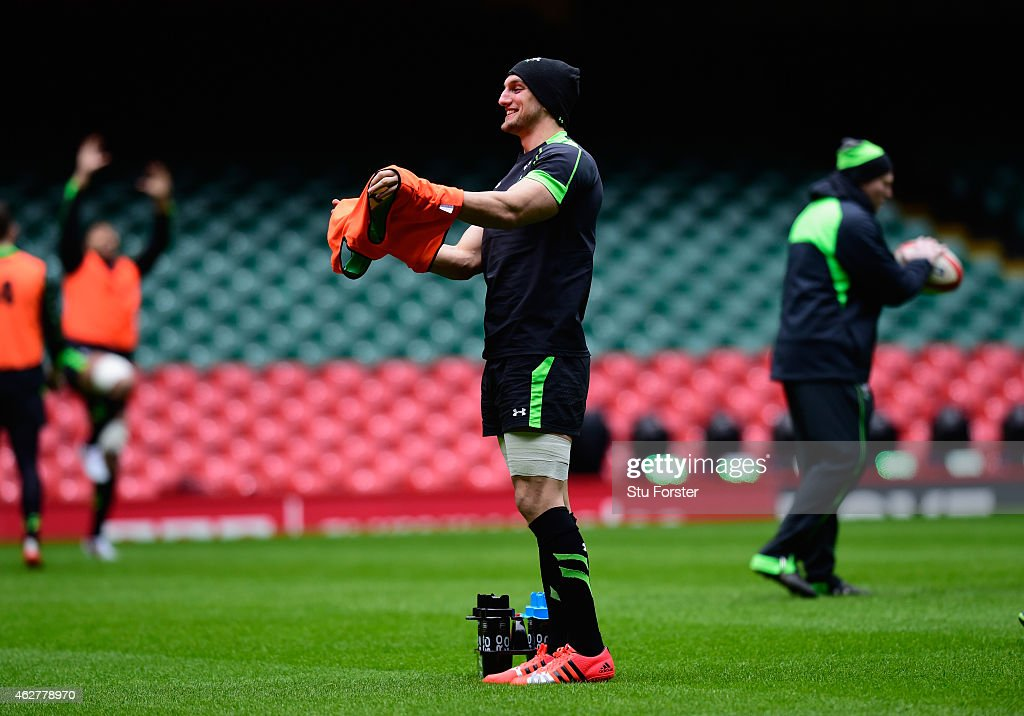 Wales captain Sam Warburton raises a smile before Wales training ahead of friday's opening Six Nations match against England at the Millennium Stadium on February 5, 2015 in Cardiff, Wales.
