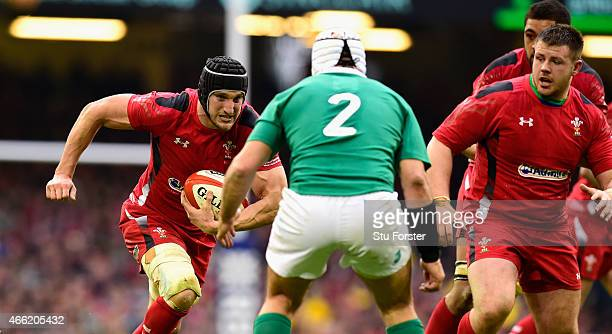 Wales captain Sam Warburton runs at Rory Best during the RBS Six Nations match between Wales and Ireland at Millennium Stadium on March 14 2015 in...