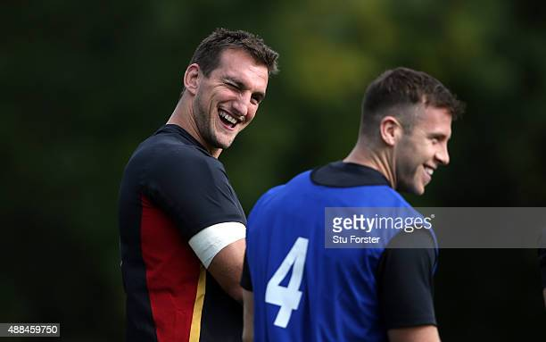 Wales captain Sam Warburton shares a joke with Gareth Davies during a Wales training session at the Vale hotel on September 16 2015 in Cardiff United...