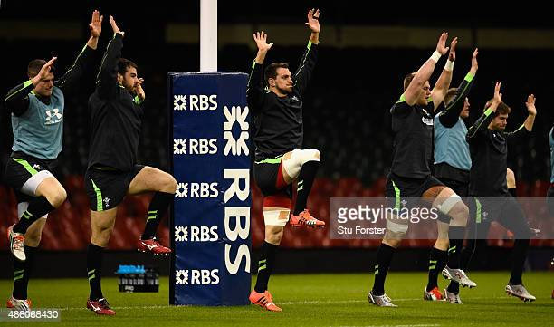 Wales captain Sam Warburton warms up during training ahead of tomorrow's RBS Six Nations match against Ireland at Millennium Stadium on March 13 2015...