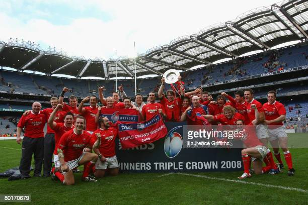 Wales celebrate beating Ireland and winning the Triple Crown during the RBS 6 Nations match between Ireland and Wales at Croke Park on March 8 2008...