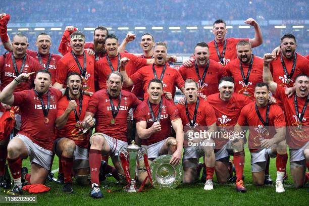 Wales celebrate the Triple Crown, Grand Slam and with the Six Nations Trophy following the Guinness Six Nations match between Wales and Ireland at...