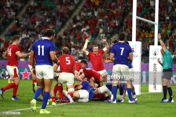 Wales celebrates after Ross Moriarty of Wales scores their team's second try during the Rugby World Cup 2019 Quarter Final match between Wales and...