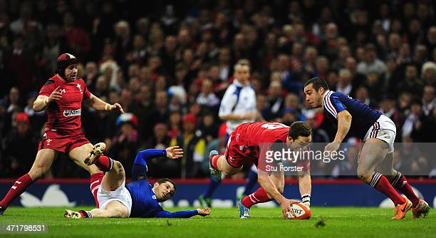 Wales centre George North goes over for the first try during the RBS Six Nations match between Wales and France at Millennium Stadium on February 21,...