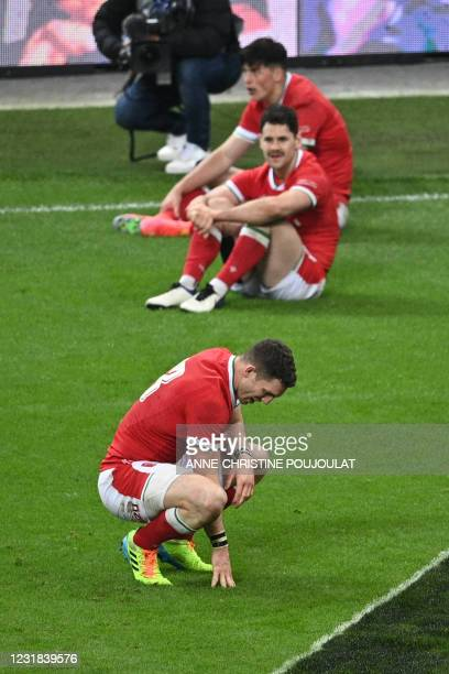 Wales' centre George North reacts after losing the Six Nations rugby union tournament match between France and Wales on March 20 at the Stade de...
