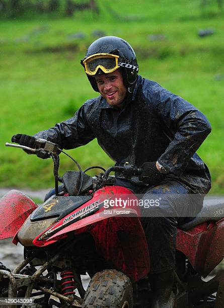 Wales centre Jamie Roberts enjoys himself as the Wales IRB Rugby World Cup 2011 squad enjoy a 4 track adventure quad biking through Woodhill Forest...