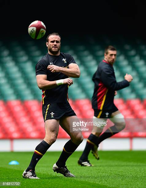 Wales centre Jamie Roberts in action during Wales training ahead of their RBS Six Nations match against Italy at Principality Stadium on March 18...
