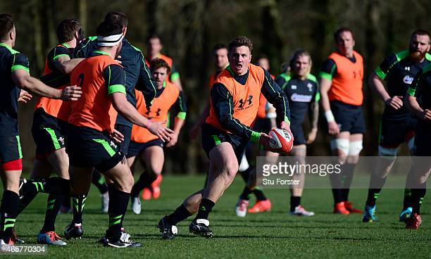 Wales centre Jonathan Davies makes a break during Wales open training ahead ahead of saturday's RBS Six Nations match against Ireland at the Vale...
