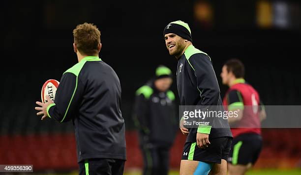 Wales centre partnership Jamie Roberts and Jonathan Davies share a joke during Wales captains run session ahead of tomorrows match against the New...
