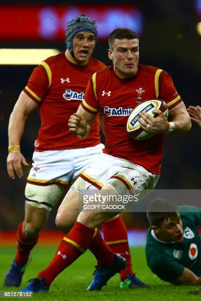 Wale's centre Scott Williams runs with the ball during the Six Nations international rugby union match between Wales and Ireland at the Principality...