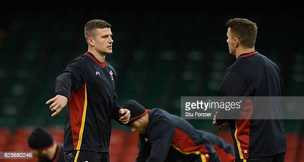 Wales centres Scott Williams and Jonathan Davies chat during Wales captain's run ahead of their final autumn series match against South Africa at...