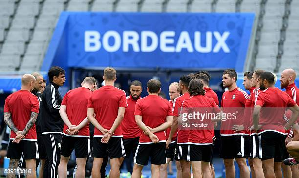 Wales coach Chris Coleman addresses his team before training at Nouveau Stade de Bordeaux ahead of their opening Euro 2016 match against Slovakia on...