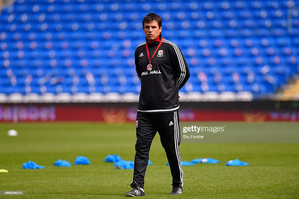 Wales coach Chris Coleman looks on during Wales training ahead of their UEFA European Championship qualiifying game against Israel on September 5, 2015 in Cardiff, United Kingdom.