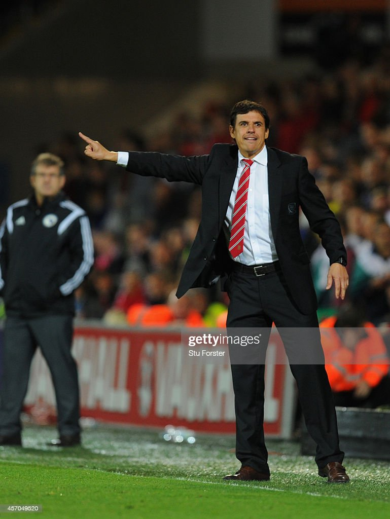 Wales coach Chris Coleman reacts during the EURO 2016 Qualifier match between Wales and Bosnia and Herzegovina at Cardiff City Stadium on October 10, 2014 in Cardiff, Wales.
