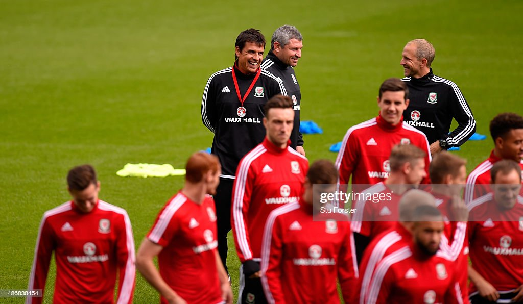Wales coach Chris Coleman shares a joke with his players during Wales training ahead of their UEFA European Championship qualiifying game against Israel on September 5, 2015 in Cardiff, United Kingdom.