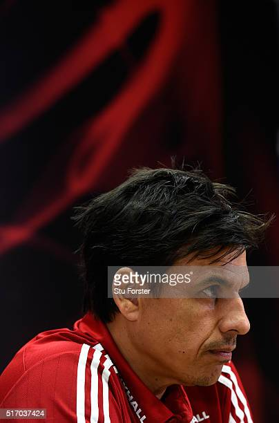 Wales coach Chris Coleman speaks to the press ahead of their match against Northern Ireland at Cardiff City Stadium on March 23 2016 in Cardiff...