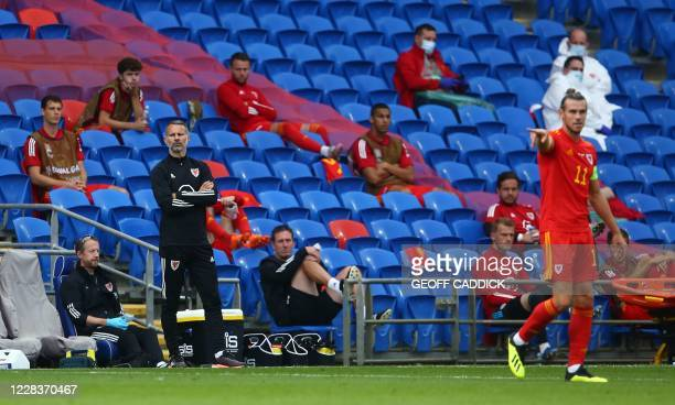 Wales' coach Ryan Giggs looks on during the UEFA Nations League football match between Wales and Bulgaria at the The Cardiff City Stadium in Cardiff...