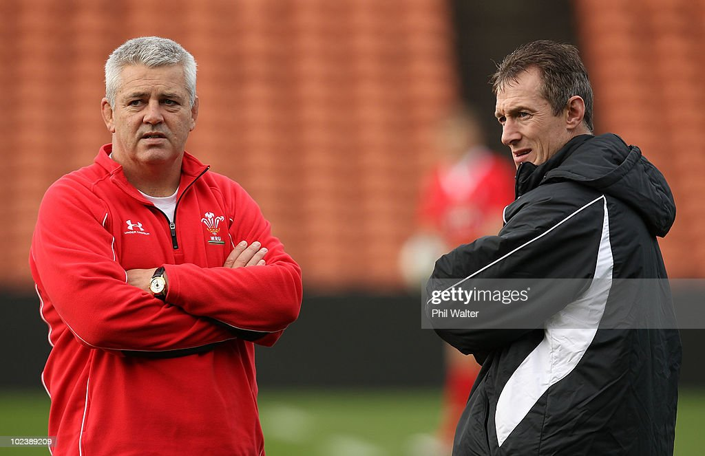 Wales coach Warren Gatland (L) and assistant coach Rob Howley (R) during the Wales Captain's Run at Waikato Stadium on June 25, 2010 in Hamilton, New Zealand.
