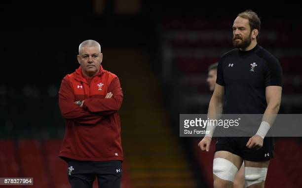 Wales coach Warren Gatland and captain Alun Wyn Jones look on during training ahead of their International tomorrow against The New Zealand All...