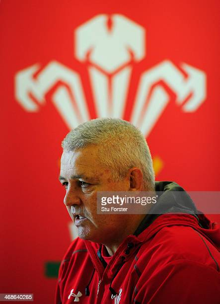 Wales coach Warren Gatland faces the press during the Wwales press conference at the Vale Hotel on February 11 2014 in Cardiff Wales