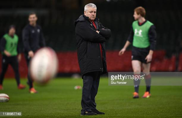 Wales coach Warren Gatland looks on during Wales training ahead of the Guinness Six Nations match against Ireland at Millennium Stadium on March 15...