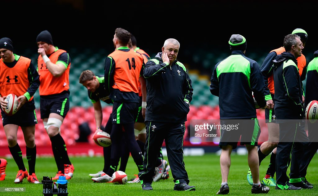 Wales coach Warren Gatland looks on during Wales training ahead of friday's opening Six Nations match against England at Millennium Stadium on February 5, 2015 in Cardiff, Wales.