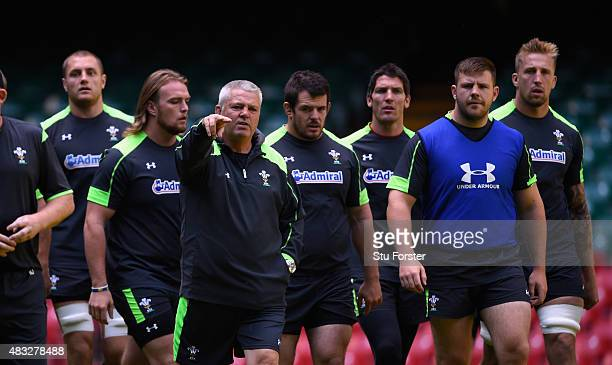 Wales coach Warren Gatland makes a point during Wales training ahead of saturday's World Cup warm up match against Ireland at Millenium Stadium on...