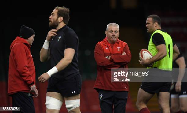 Wales coach Warren Gatland reacts during training ahead of their International tomorrow against The New Zealand All Blacks at Principality Stadium on...
