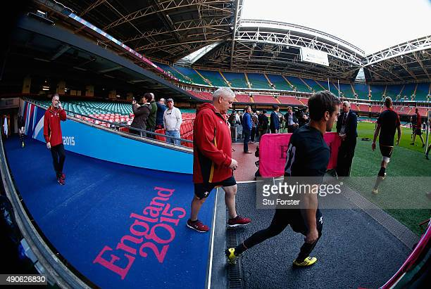 Wales coach Warren Gatland takes to the field before the Wales Captain's Run at the Millennium stadium on September 30, 2015 in Cardiff, United...