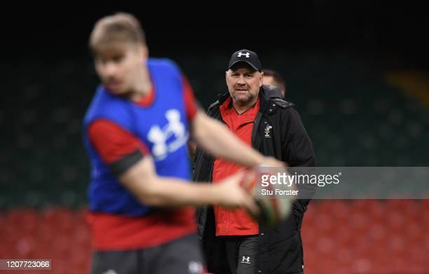 Wales coach Wayne Pivac looks on during the Wales Captains Run ahead of their Guinness Six Nations match against France at Principality Stadium on...